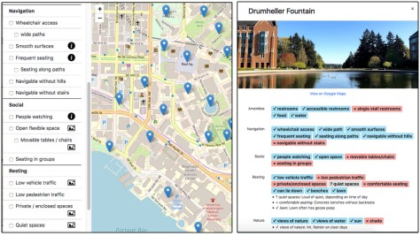 (Left) Users can select accessibility qualities to filter the places shown on the map. (Right) Clicking on a place opens a popup window to see all of that place's coded accessibility qualities, pictures, reviews, and additional textual descriptions.