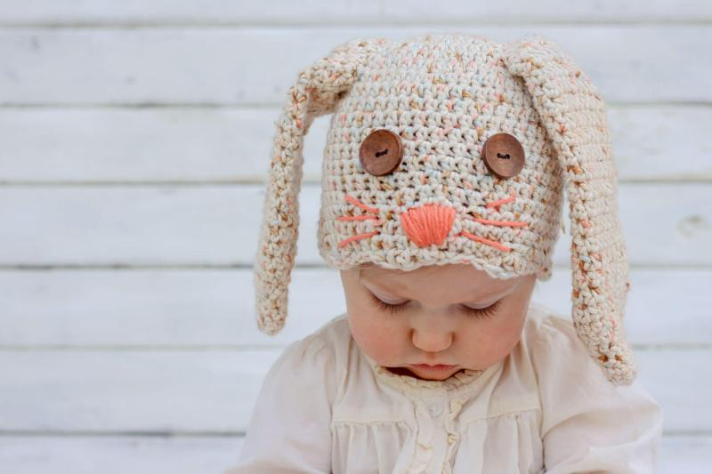 This free crochet bunny hat pattern makes a darling DIY Easter gift for your favorite baby or toddler. Sizes newborn, 3-6 months, 6-12 months, toddler/preschooler. Pair with our free crochet carrot baby toy pattern.Click for free pattern.   MakeAndDoCrew.com