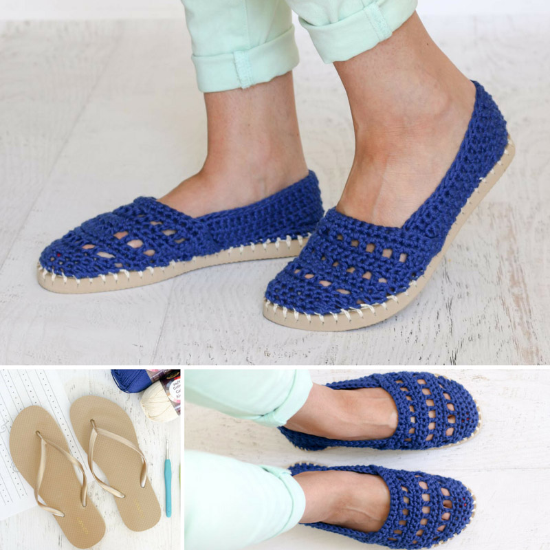 Crochet Shoes With Rubber Bottoms Free Toms Style