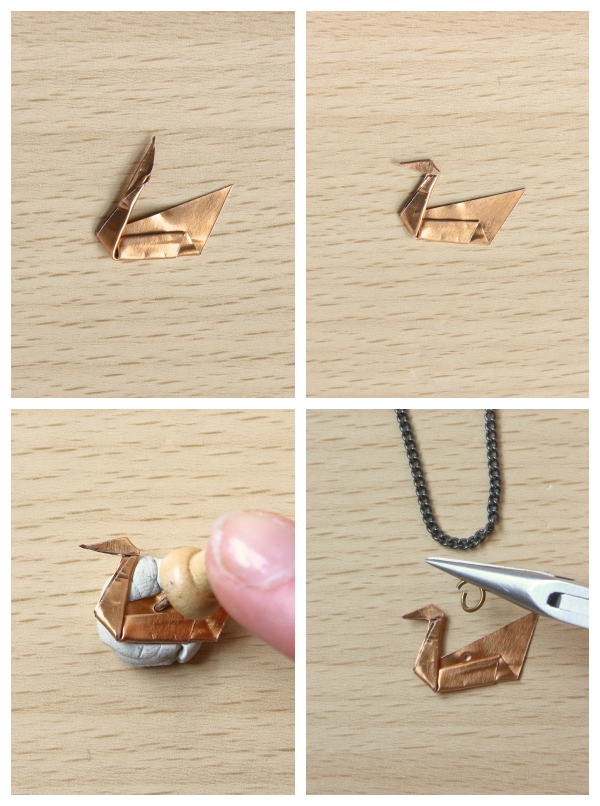 Origami Metal Swan Necklace
