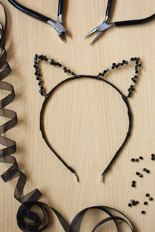 DIY Beaded Sparkly Cat Ears