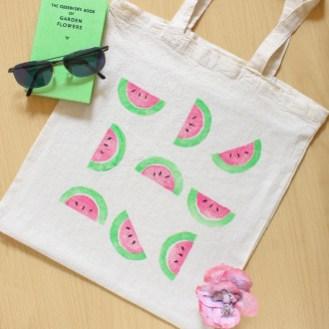 Hand Printed Watermelon Bag
