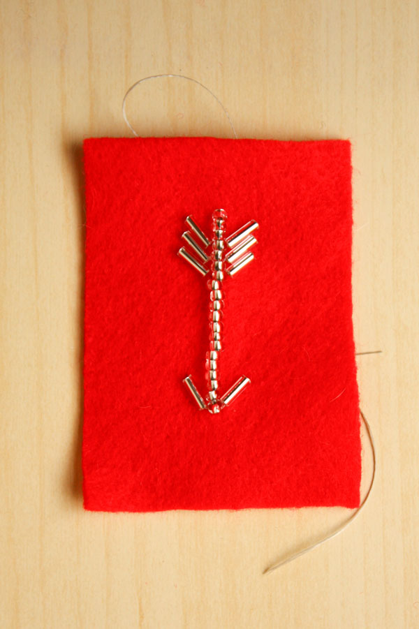 Valentines DIY bead embroidered arrow