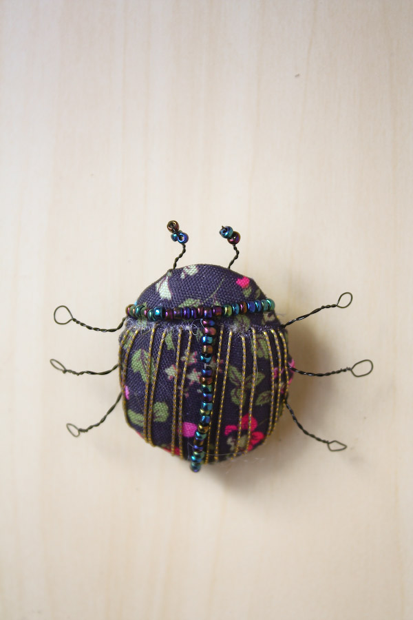 Textile Fabric Bug Brooch DIY Tutorial. Make a soft sculpture beetle pin badge!