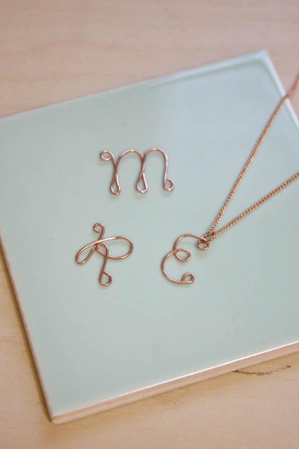 Wire Monogram Necklace DIY Tutorial