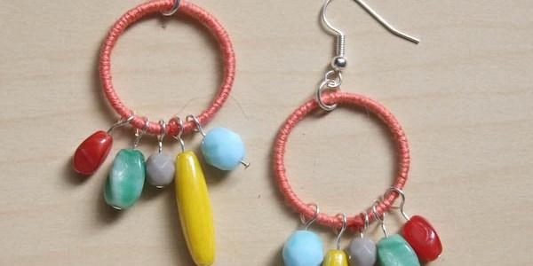 Colourful Thread and Bead Earrings DIY
