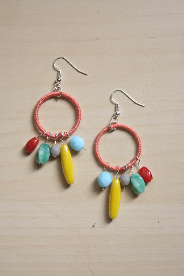 Colourful Thread and Bead Earrings DIY Tutorial by Make and Fable