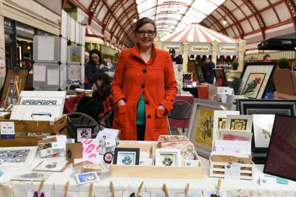 The Peacock and the Printmaker - Make & Print Market in the Grainger Market Photograph by Holly Wheeler 2019