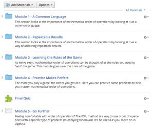 Screen Shot of Schoology course design