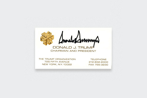 Business cards of the legendary celebrities
