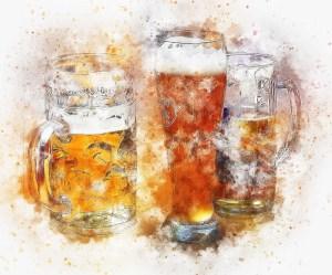 painting of 3 glasses of beer art