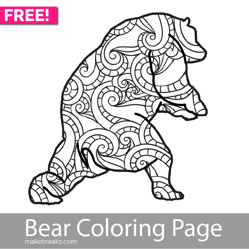 Free Printable Bear Coloring Page