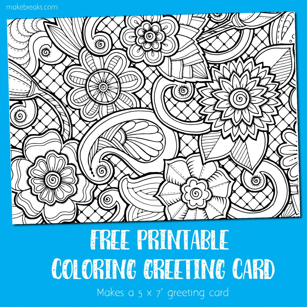 graphic about Printable Coloring Cards named Coloring Card - Greeting Card towards Colour - Create Breaks