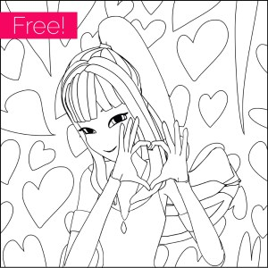 Free Girl With Heart Coloring Page