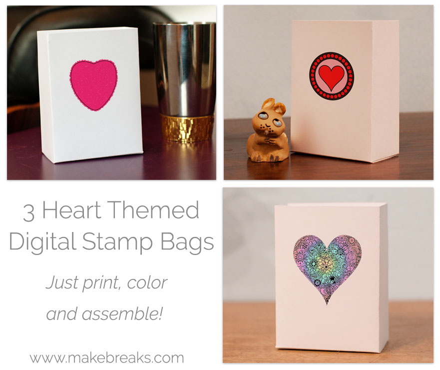 Free Heart Digital Stamp Gift Bags