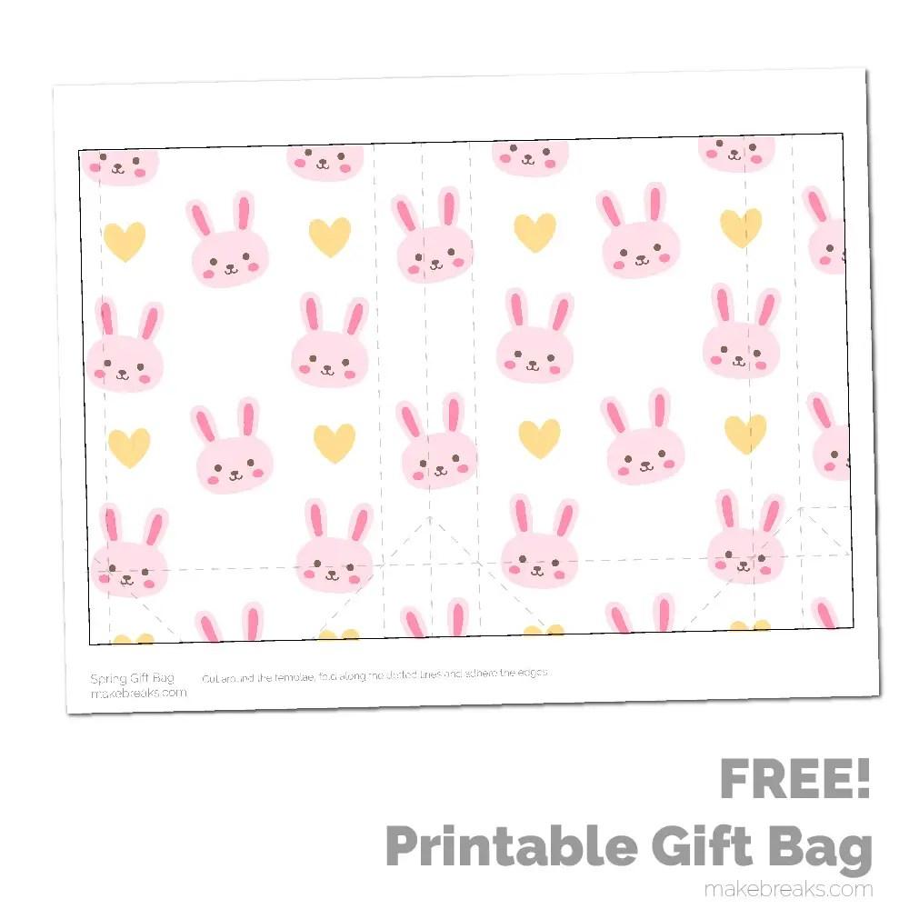 Spring Easter Printable Gift Bag – Pink Bunny Pattern