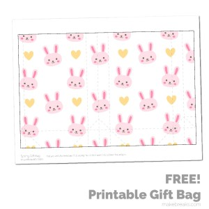 Spring Easter Printable Gift Bag – Pink Bunny Pattern