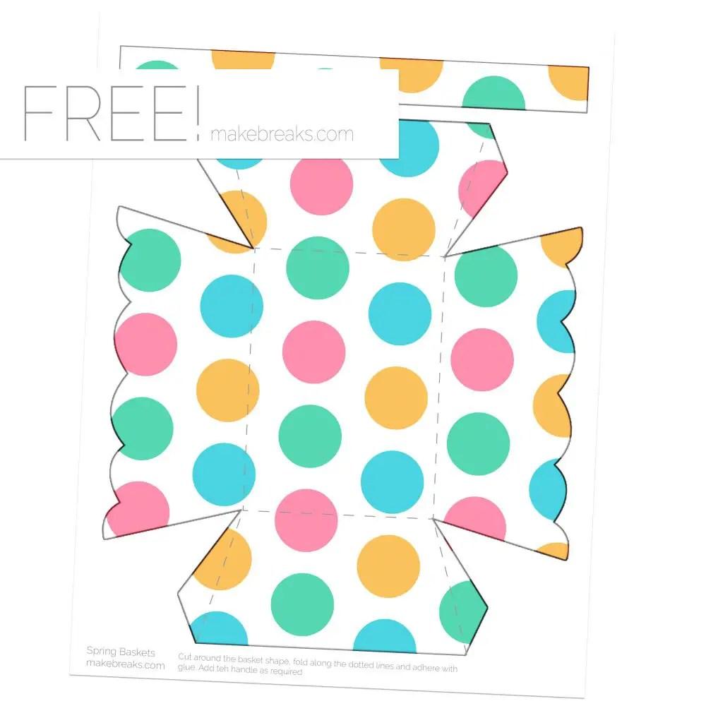 Spring Easter Printable Basket Template – Dot Pattern