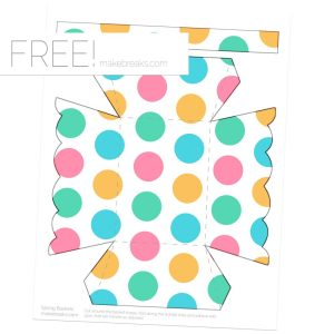 Spring Easter Printable Basket Template – Dot Pattern