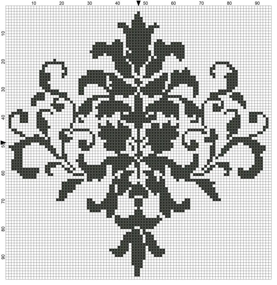 Free Cross Stitch Chart – Damask Motif
