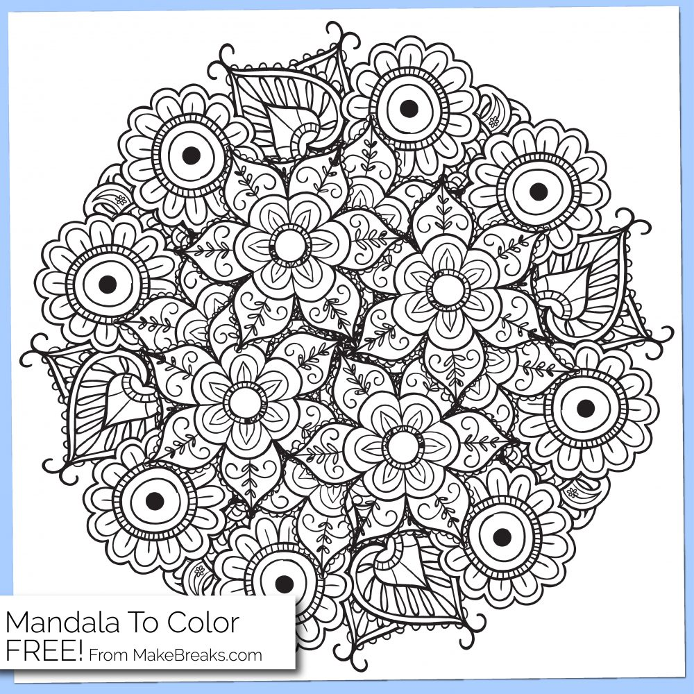 Free Printable Mandala Coloring Page 4 - Make Breaks