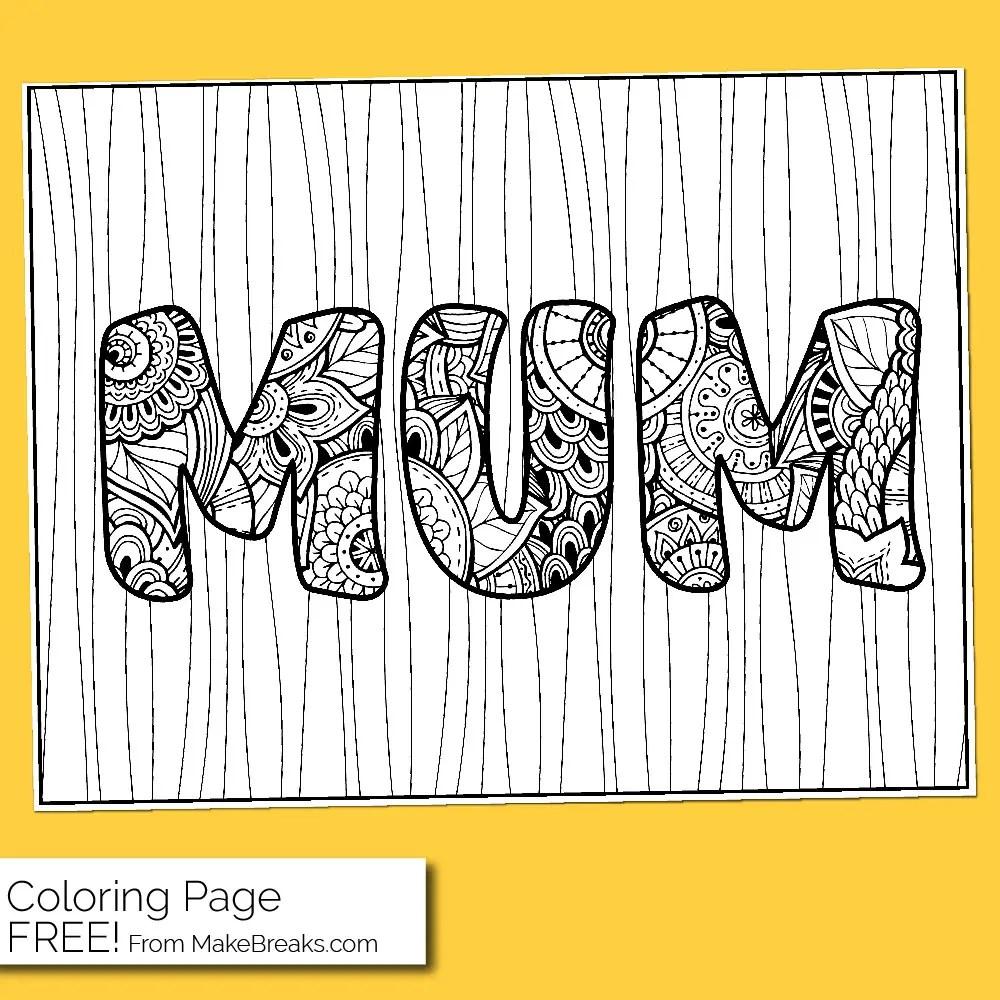 Free Mum Coloring Page