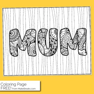 Free Mum Coloring Page