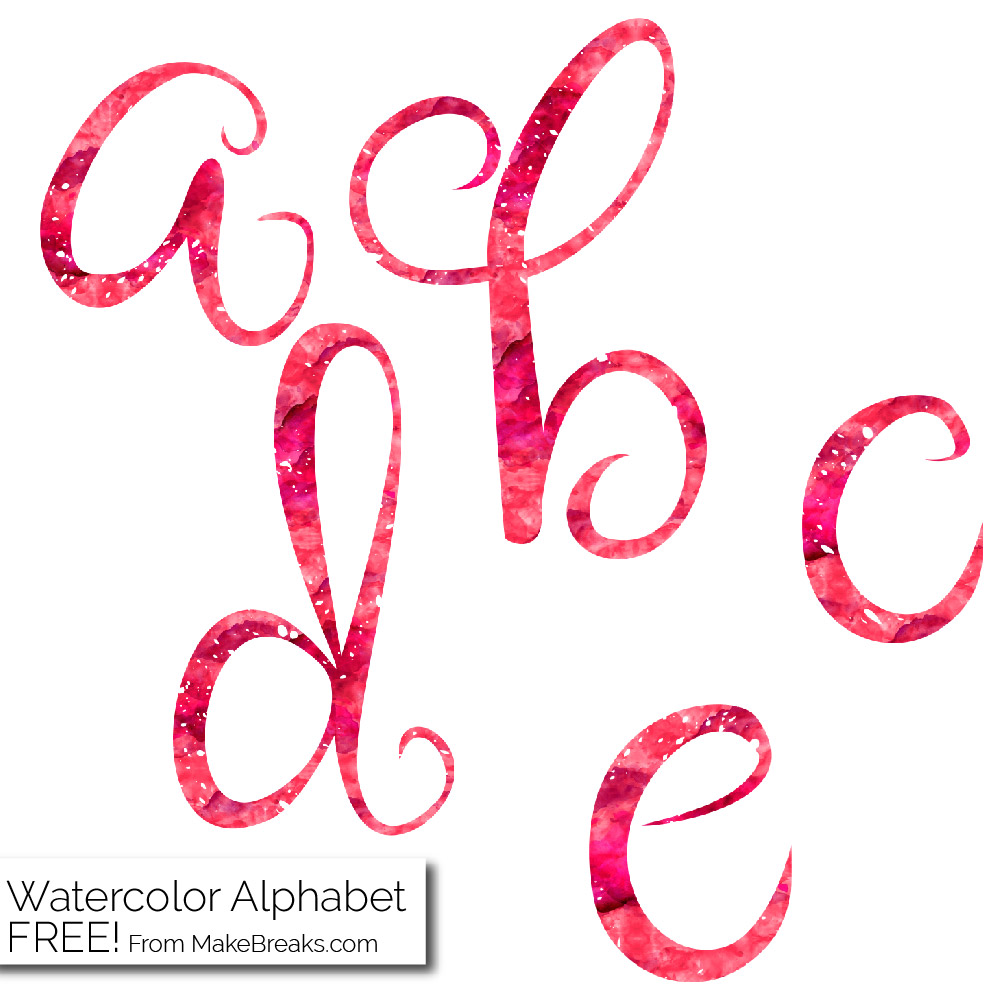 Red Watercolor Free Printable Letters