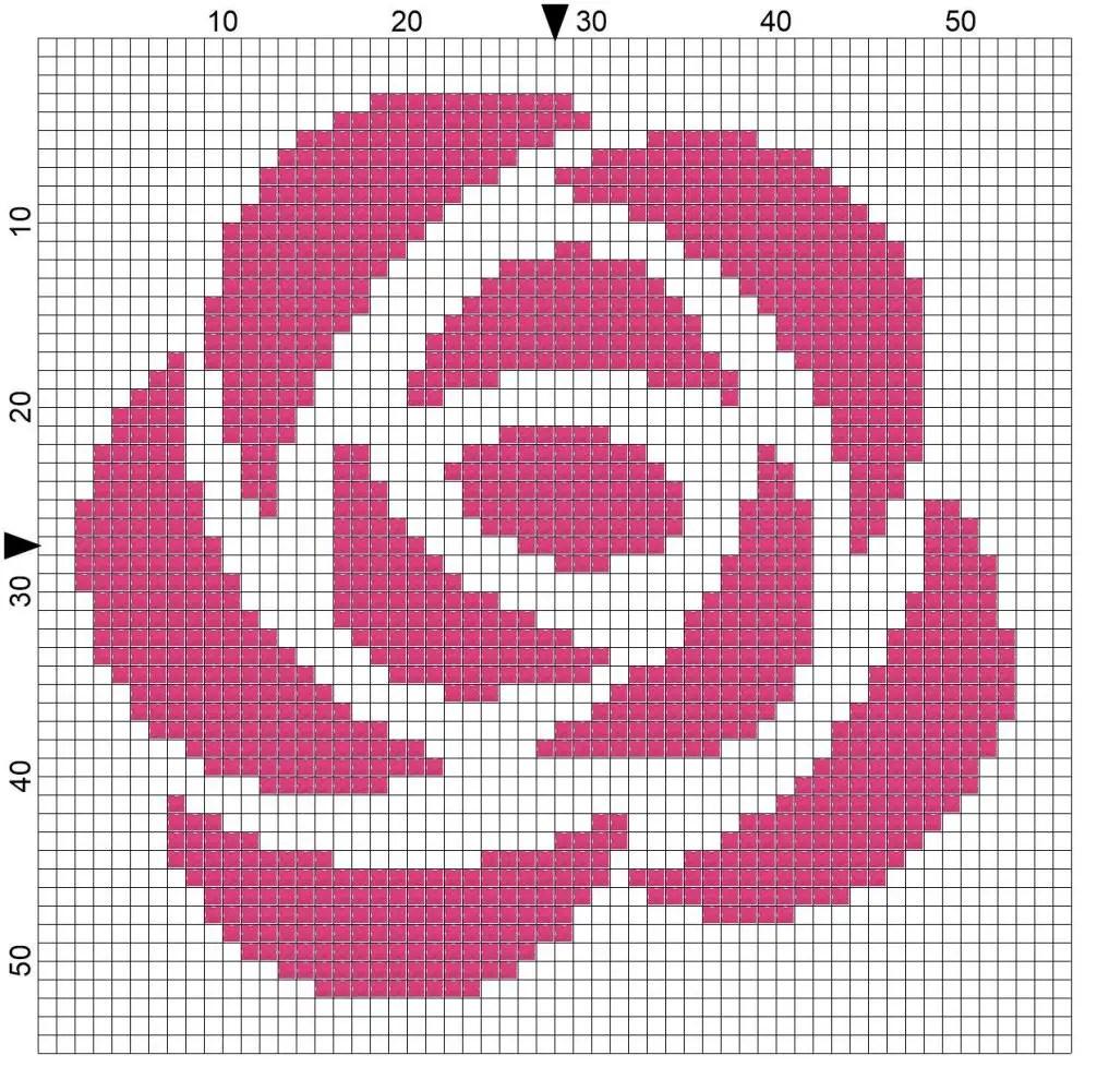 Free Cross Stitch Pattern – Rose Motif