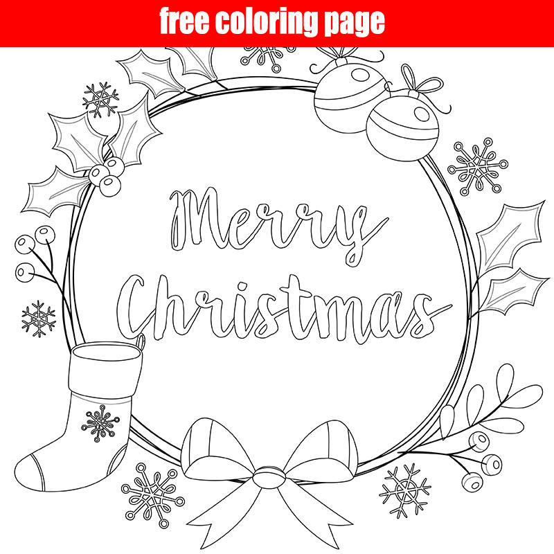 Merry Christmas Wreath Coloring Page - Make Breaks