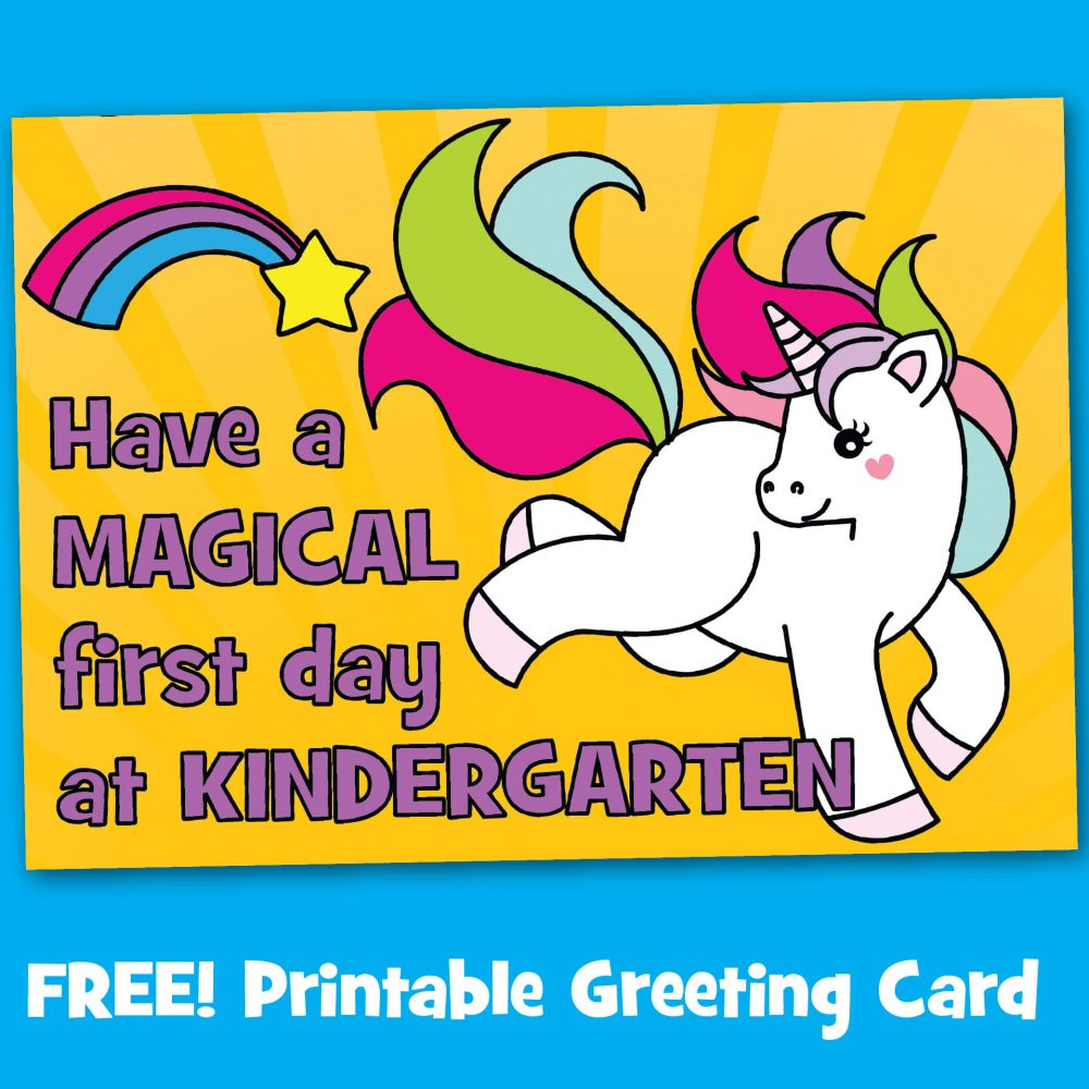 Free Printable Unicorn First Day at Kindergarten School Card