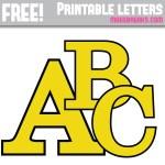 Yellow With Black Edge Free Printable Alphabet