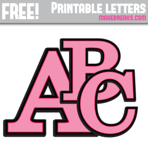 Pink With Black Edge Free Printable Alphabet