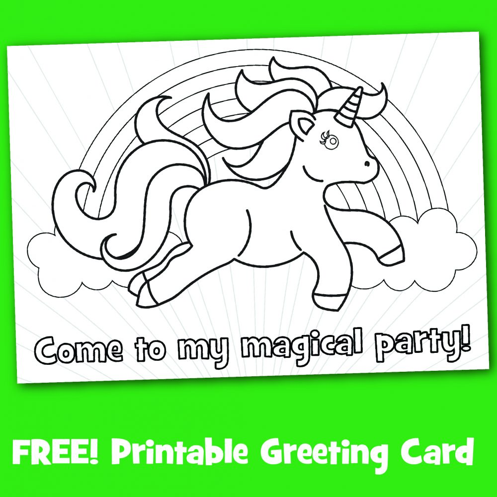 Free printable black and white unicorn magical party invitation to color