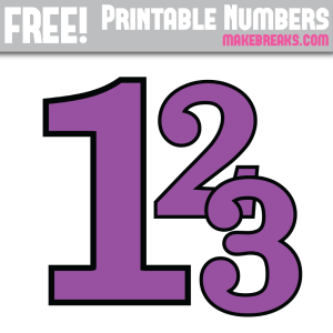 Free Purple With Black Edge Printable Numbers 0 – 9