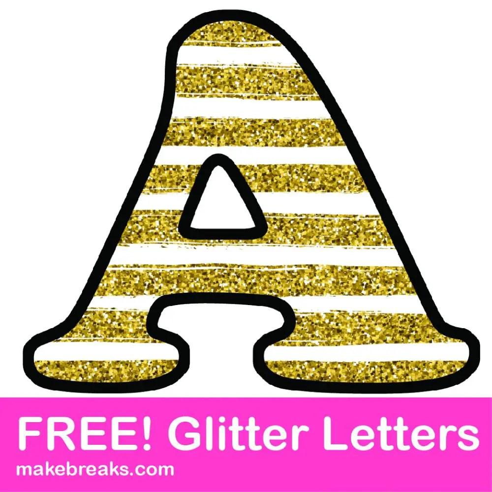 Free Printable Gold Stripe Glitter Letters