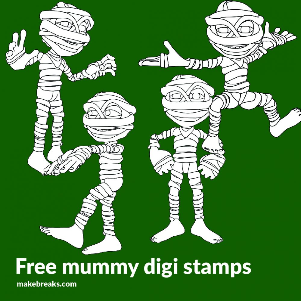 4 Mummy Free Halloween Digital Stamps