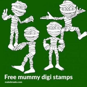 4 Mummy Free Halloween Digital Stamps