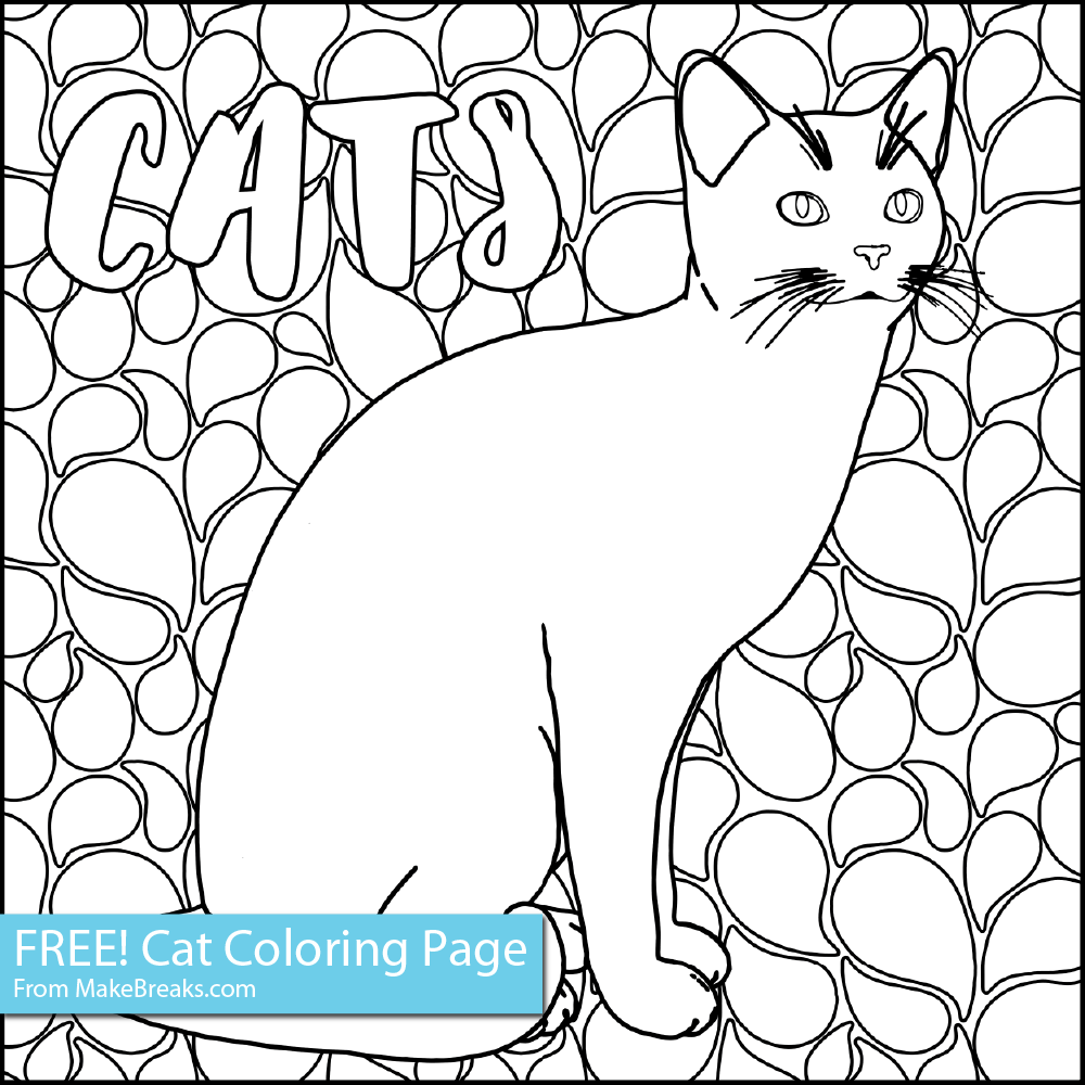 Free Coloring Page – Free Cat Coloring Page