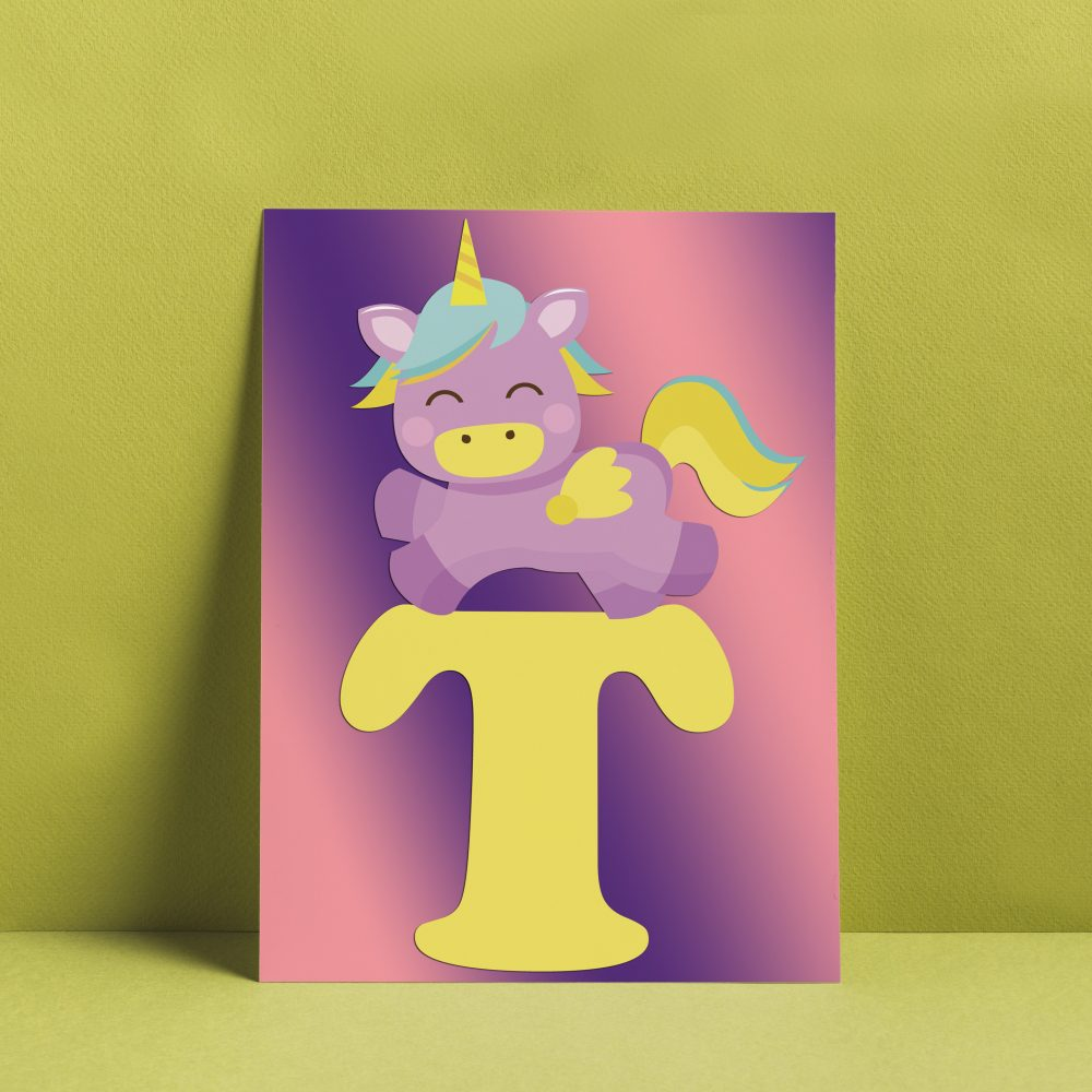Make a cute unicorn monogram wall art with our free unicorn alphabet