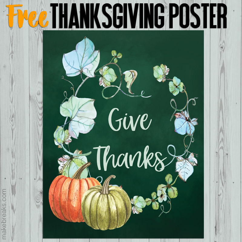 Free Give Thanks Thanksgiving Printable Poster