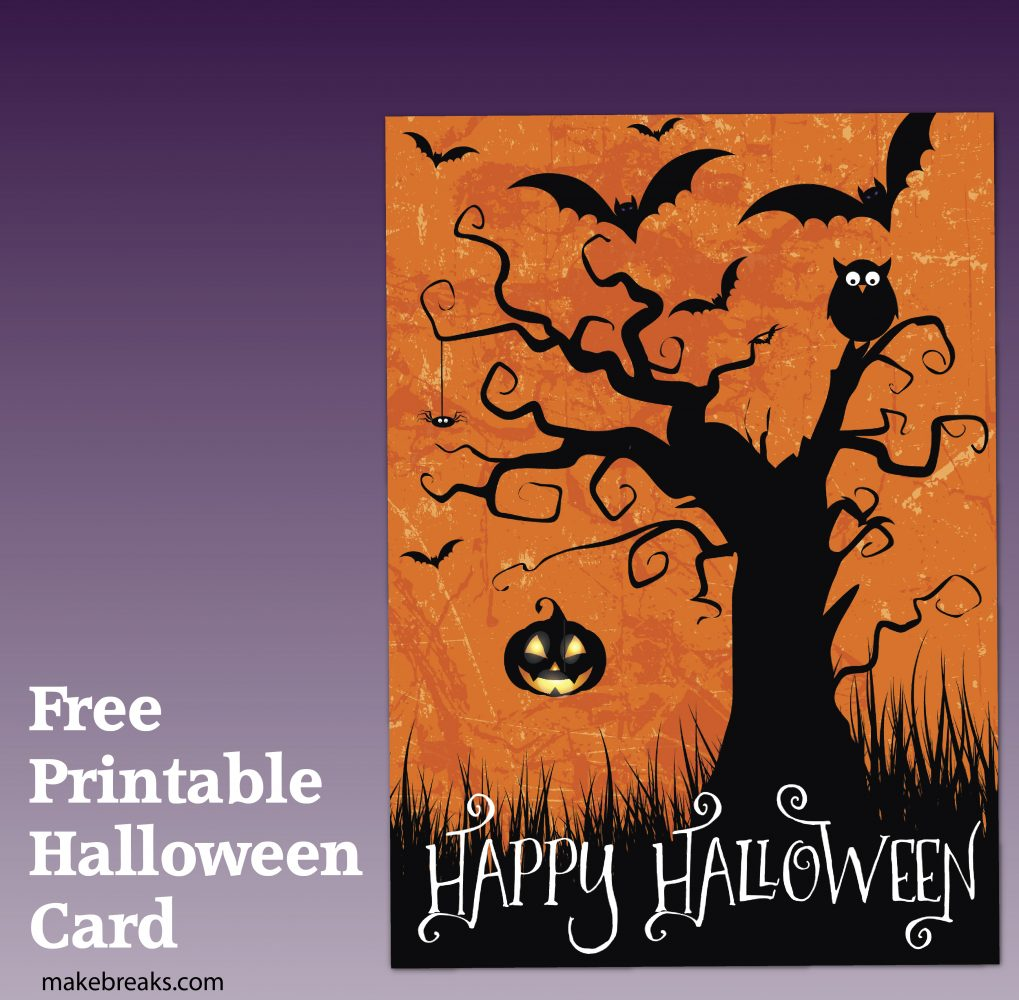 free printable happy halloween card or party invitation - make breaks