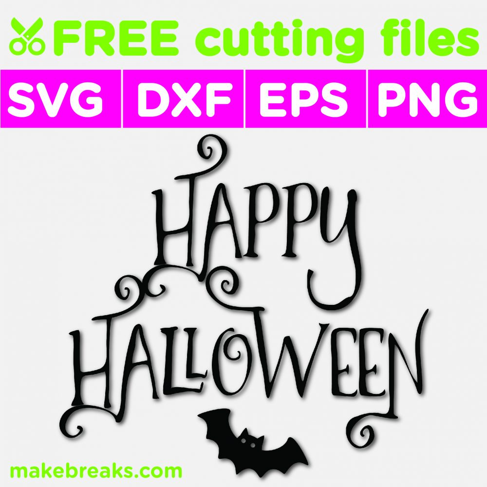 Happy Halloween image svg file with little bat design