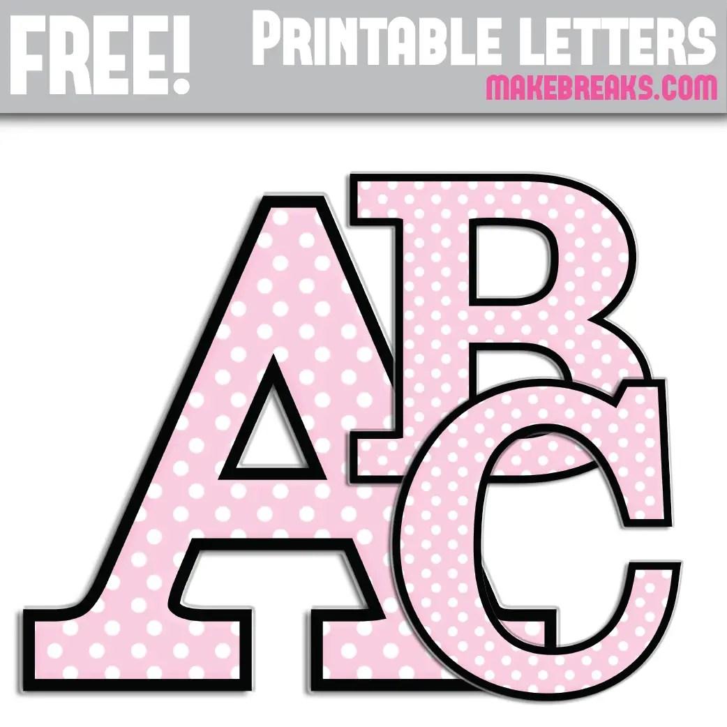 Pink Polka Dot With Black Edge Free Printable Alphabet