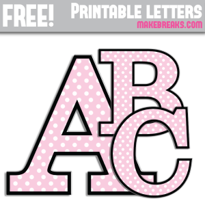 Pink Polka Dot With Black Edge Free Printable Alphabet
