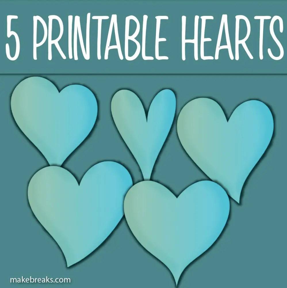 Five Free Printable Blue Heart Templates