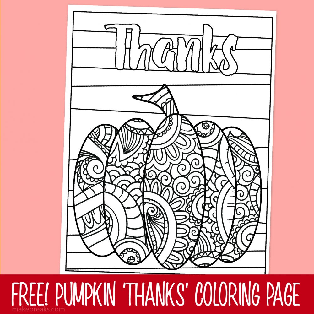 Free Pumpkin Thanks Thanksgiving Coloring Page
