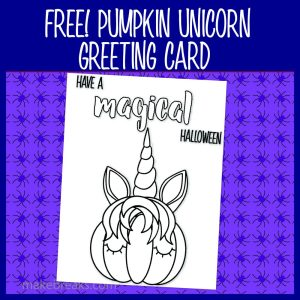 Free Unicorn Pumpkin Halloween Coloring Card
