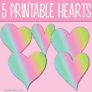 Five Free Printable Rainbow Heart Templates