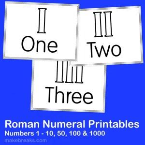Roman Numerals Printables For Teachers